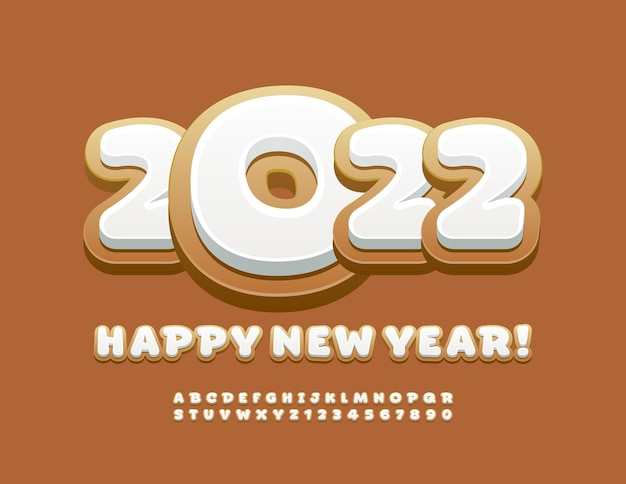 Carte de voeux douce vecteur happy new year 2022 tasty alphabet letters and numbers