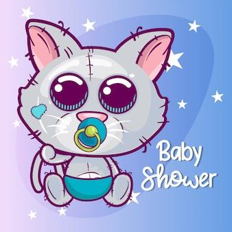 Carte de voeux de douche de bébé avec chat mignon de bande dessinée