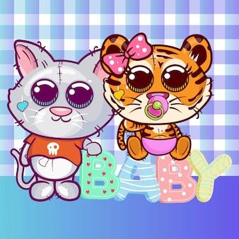 Carte de voeux de douche de bébé avec dessin animé mignon tigre et chat - vecteur