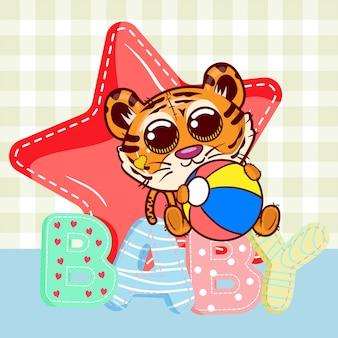 Carte de voeux de douche de bébé avec dessin animé mignon tigre - vecteur