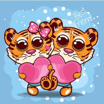 Carte de voeux de douche de bébé avec dessin animé mignon tigres - vecteur