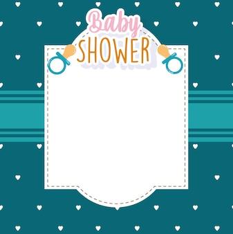 Carte de voeux de douche de bébé avec illustration vectorielle de sucette coeurs fond modèle