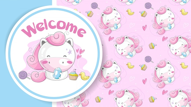 Carte de voeux de douche de bébé avec jolie fille licorne de dessin animé