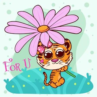 Carte de voeux de douche de bébé avec jolie fille tigre cartoon - vecteur