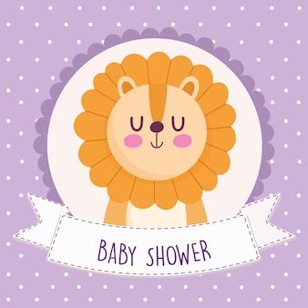 Carte de voeux de douche de bébé avec lion