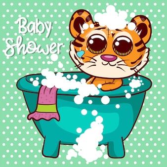 Carte de voeux de douche de bébé avec mignon garçon tigre cartoon - vecteur