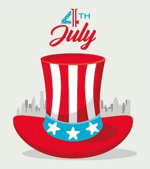 Carte de voeux du 4 juillet avec chapeau haut de forme