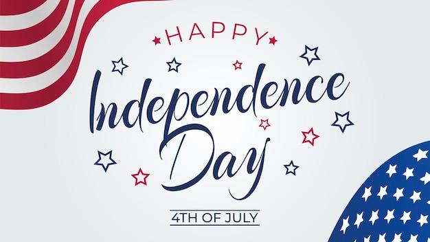 Carte de voeux du 4 juillet avec les couleurs du drapeau national des états-unis et le texte du lettrage à la main