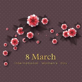 Carte de voeux du 8 mars pour la journée internationale de la femme. fleurs coupées en papier avec texte de paillettes dorées.