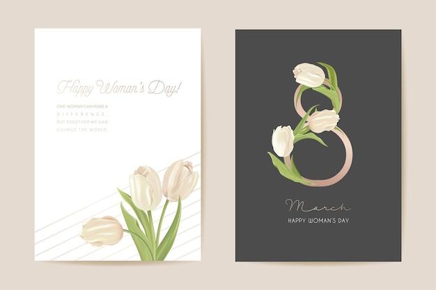 Carte de vœux du jour de la femme moderne du 8 mars. illustration vectorielle florale de printemps. modèle de voeux de fleurs de tulipes réalistes, fond de fleur de luxe, dépliant de concept de journée internationale de la femme, conception de fête