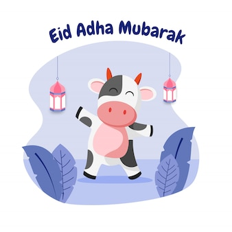 Carte de voeux eid adha mubarak avec illustration plate de vache heureuse et lanterne