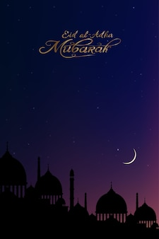 Carte de voeux eid al adha mubarak avec les mosquées silhouette dome, le croissant de lune et les étoiles.