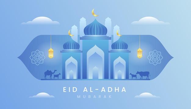 Carte de voeux eid al adha avec un thème de couleur bleu et or dégradé.