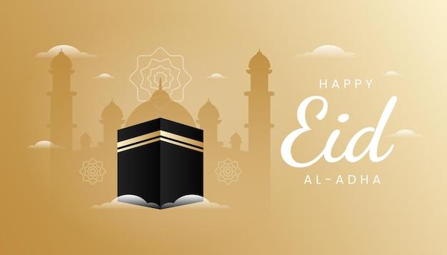 Carte de voeux eid al adha avec thème de couleur or dégradé et illustration kaaba. s