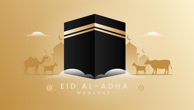 Carte de voeux eid al adha avec thème de couleur or dégradé et illustration kaaba.