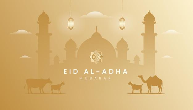 Carte de voeux eid al adha avec thème de couleur or dégradé.