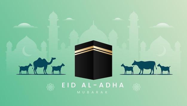 Carte de voeux eid al adha avec thème de couleur verte dégradée et illustration kaaba.