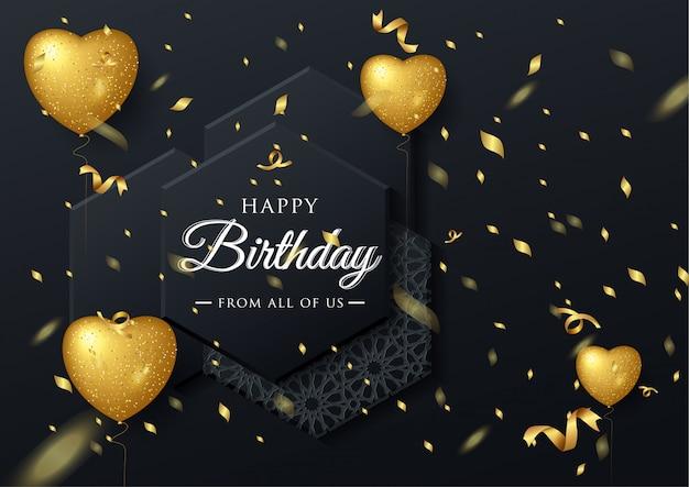 Carte de voeux élégante anniversaire vector avec ballons or et confettis en baisse