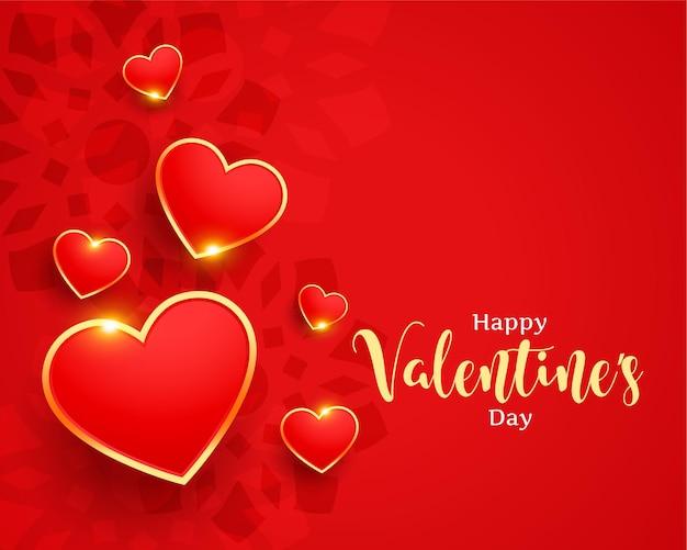 Carte de voeux élégante saint valentin avec coeurs dorés