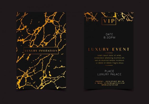 Carte de voeux élégante avec texture doré royal en marbre.