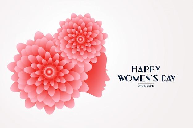 Carte de voeux élégante visage de fleur de jour de femme heureuse