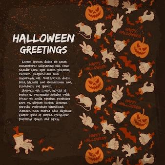 Carte de voeux d'éléments halloween avec des lanternes de mains et de gestes de citrouille