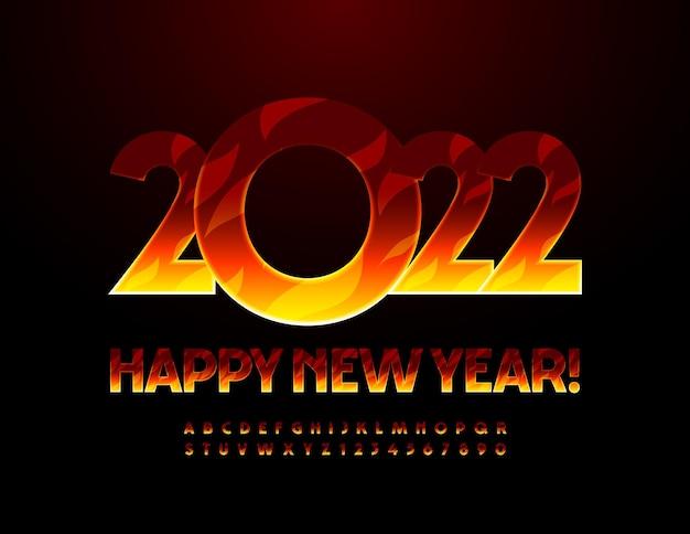 Carte de voeux enflammée de vecteur happy new year 2022 fire print font hot alphabet letters and numbers