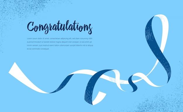 Carte de voeux de félicitations, avec ruban