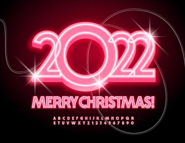 Carte de voeux festive de vecteur joyeux noël 2022 jeu de lettres et de chiffres de l'alphabet lumière rouge