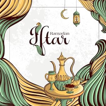 Carte de voeux de fête du ramadan iftar avec dates dessinées à la main et nourriture islamique sur fond grunge blanc.