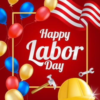 Carte de voeux de la fête du travail avec le drapeau américain