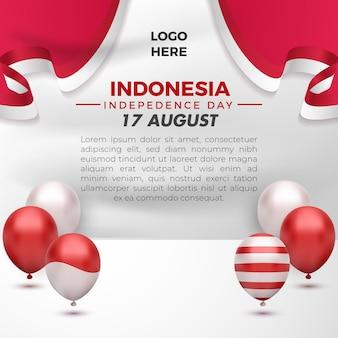 Carte de voeux de la fête de l'indépendance de l'indonésie le 17 août avec un dépliant de modèle de médias sociaux en ballon