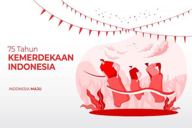 Carte de voeux de fête de l'indépendance de l'indonésie avec illustration de concept de jeux traditionnels. 75 tahun kemerdekaan indonésie se traduit par 75 ans de fête de l'indépendance de l'indonésie.