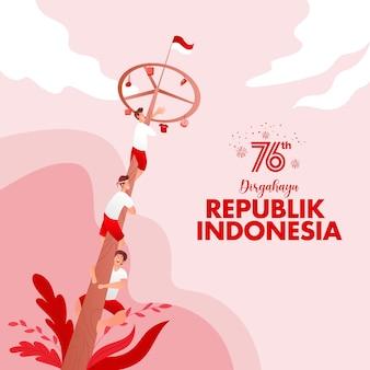 Carte de voeux de la fête de l'indépendance de l'indonésie avec illustration de concept de jeux traditionnels. la république de dirgahayu en indonésie se traduit par le jour de l'indépendance de la république d'indonésie