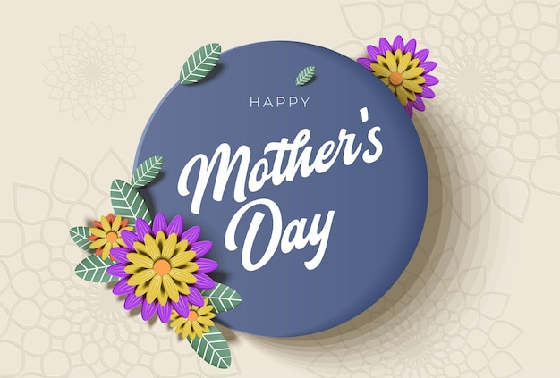 Carte de voeux fête des mères avec de belles fleurs en fleurs