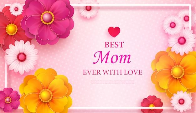 Carte de voeux de fête des mères avec cadre carré et fleurs coupées en papier sur fond géométrique moderne coloré.