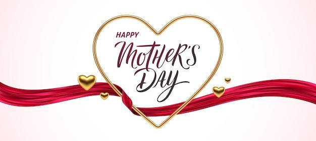Carte de voeux de fête des mères. coeur d'or avec calligraphie et ruban rouge.