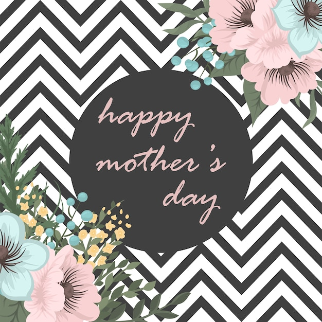 Carte de voeux fête des mères avec des fleurs de fleur