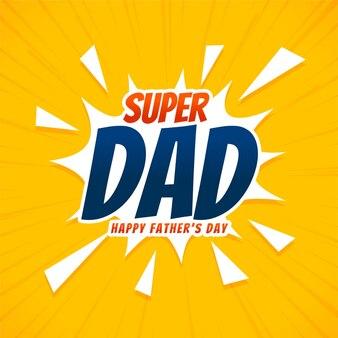 Carte de voeux de fête des pères heureux de style bande dessinée