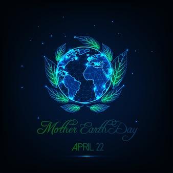 Carte de voeux de la fête de la terre-mère avec glow low poly globe map