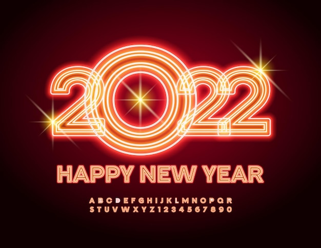 Carte de voeux flamboyante de vecteur happy new year 2022 alphabet de tube lumineux de polices lumineuses et incandescentes