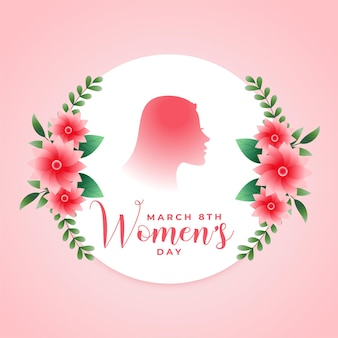Carte de voeux de fleur de jour de la femme heureuse