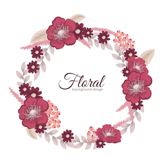 Carte de voeux avec des fleurs, aquarelle. cadre de couronne de vecteur