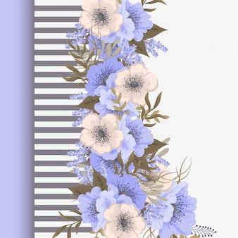 Carte de voeux avec des fleurs, aquarelle. cadre