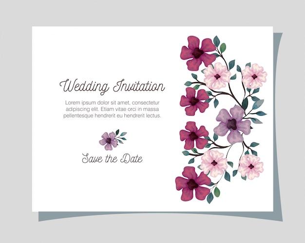 Carte de voeux avec des fleurs de couleur lilas, rose et violet, invitation de mariage avec des fleurs avec des branches et des feuilles décoration design illustration