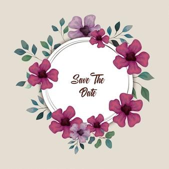 Carte de voeux avec des fleurs de couleur lilas et violet, invitation de mariage avec des fleurs avec des branches et des feuilles décoration design illustration