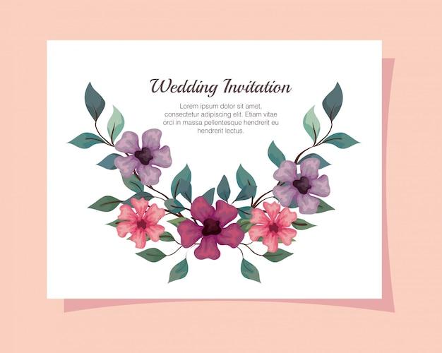 Carte de voeux avec des fleurs de couleur rose, violet et lilas, invitation de mariage avec des fleurs avec des branches et des feuilles décoration design illustration