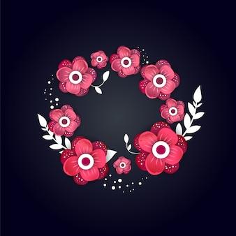Carte de voeux avec des fleurs en fleurs