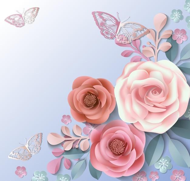 Carte de voeux avec des fleurs en papier félicitations pour les vacances modèle vector