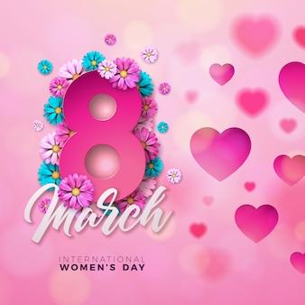 Carte de voeux floral happy women's day